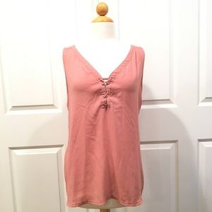 Express Mixed Media Tie Front Tank Blouse